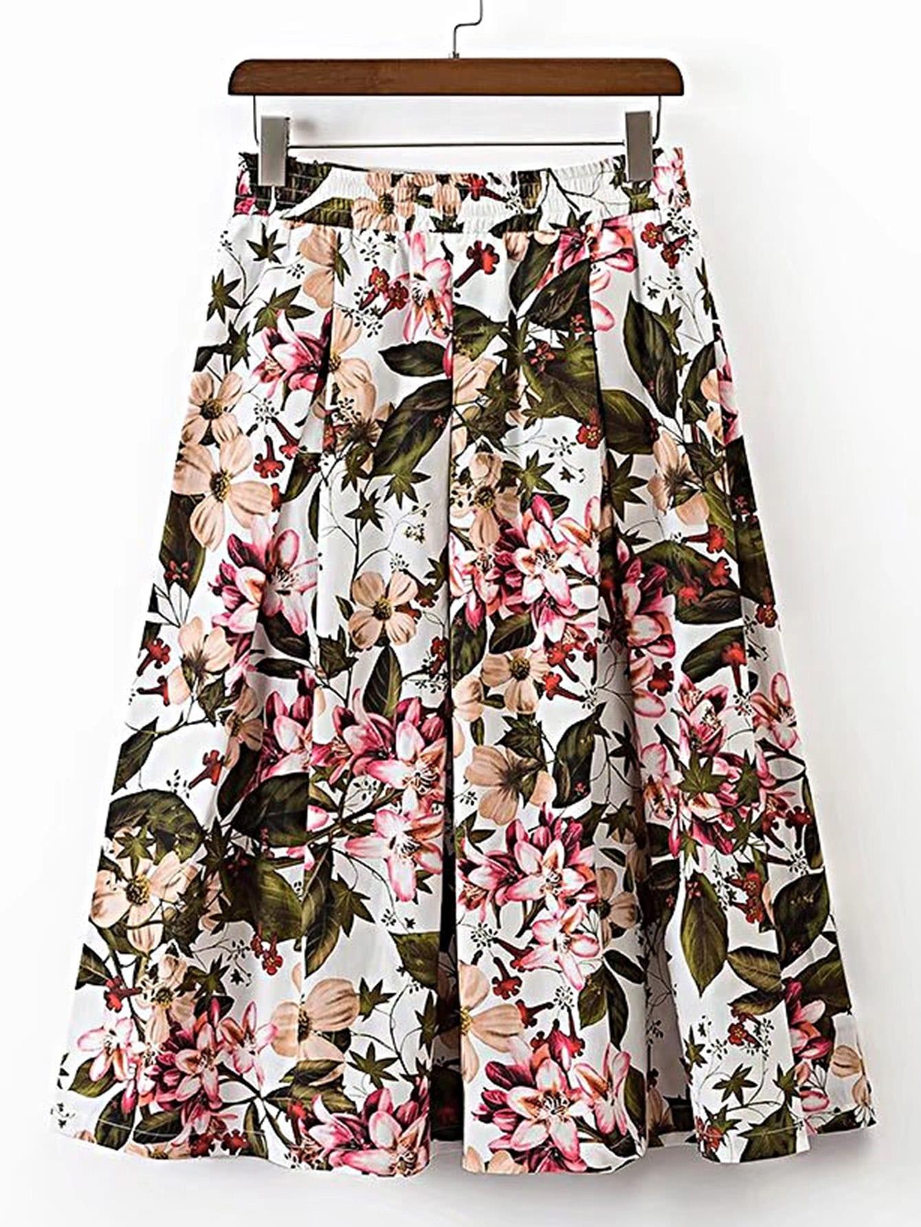 Elastic Waist Floral A Line Skirt skirt170509201