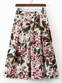 Falda con estampado floral con cintura elástica