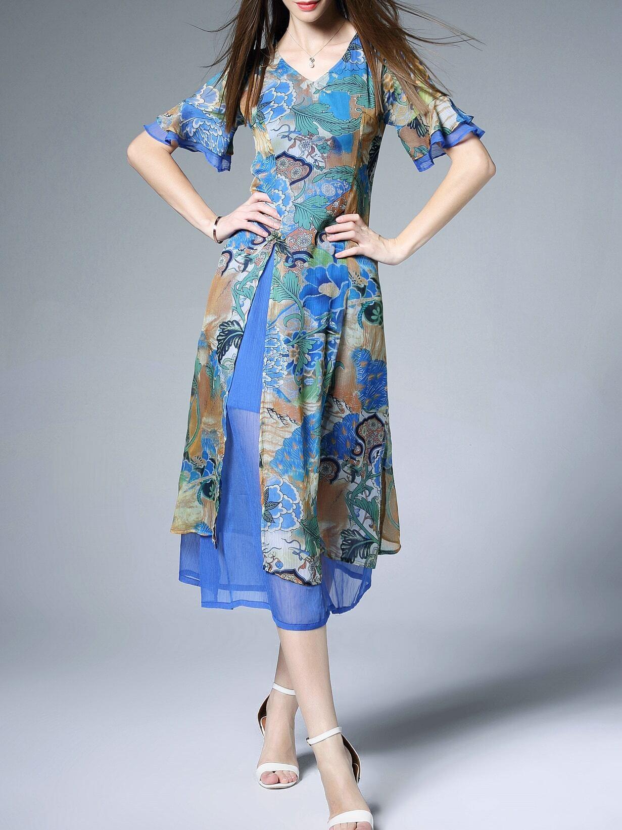 Фото V Neck Ruffle Sleeve Print Dress. Купить с доставкой