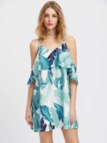 Palm Leaf Print Frilled Drop Cold Shoulder Dress