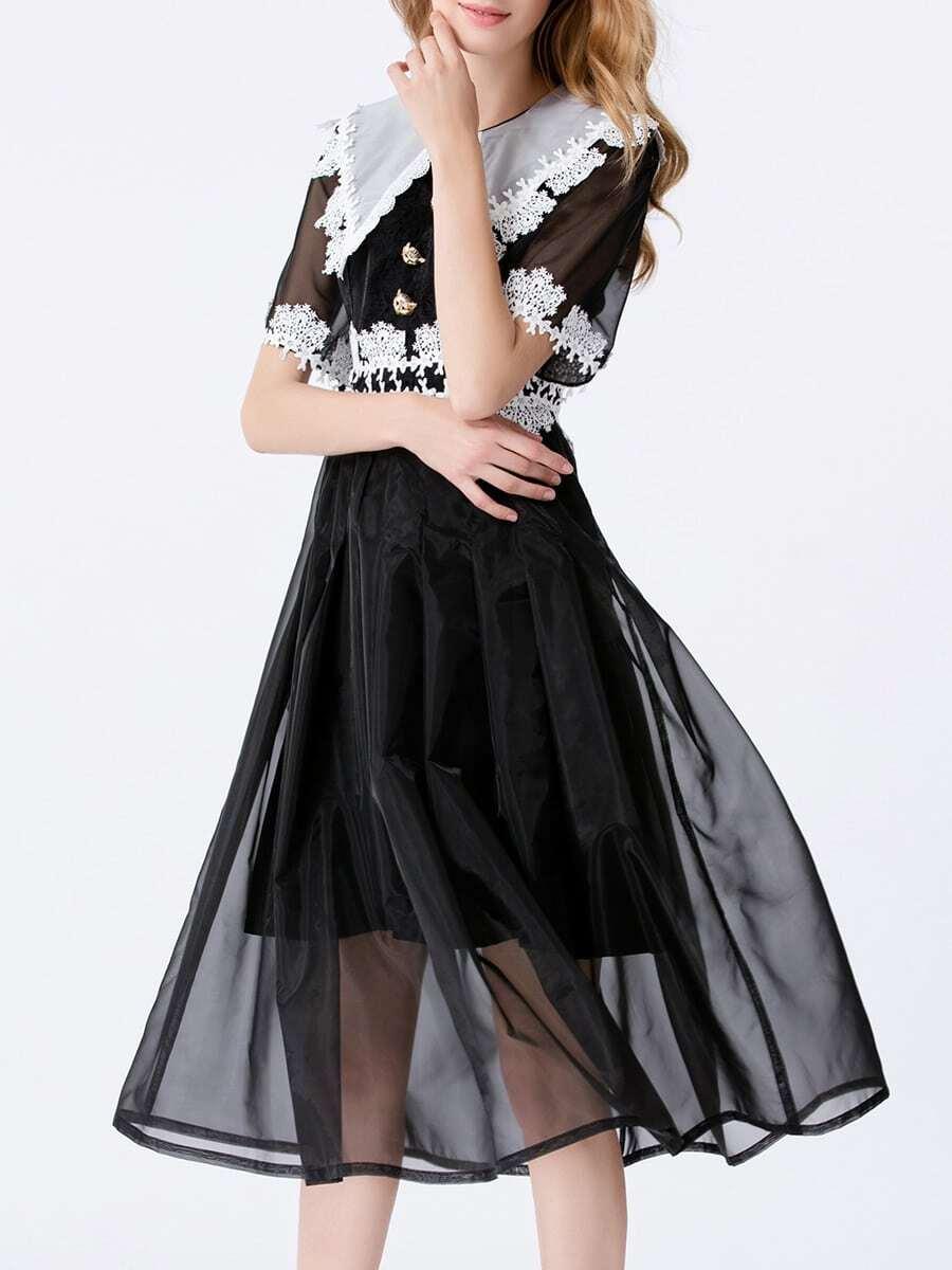 Фото Crochet Contrast Organza A-Line Dress. Купить с доставкой