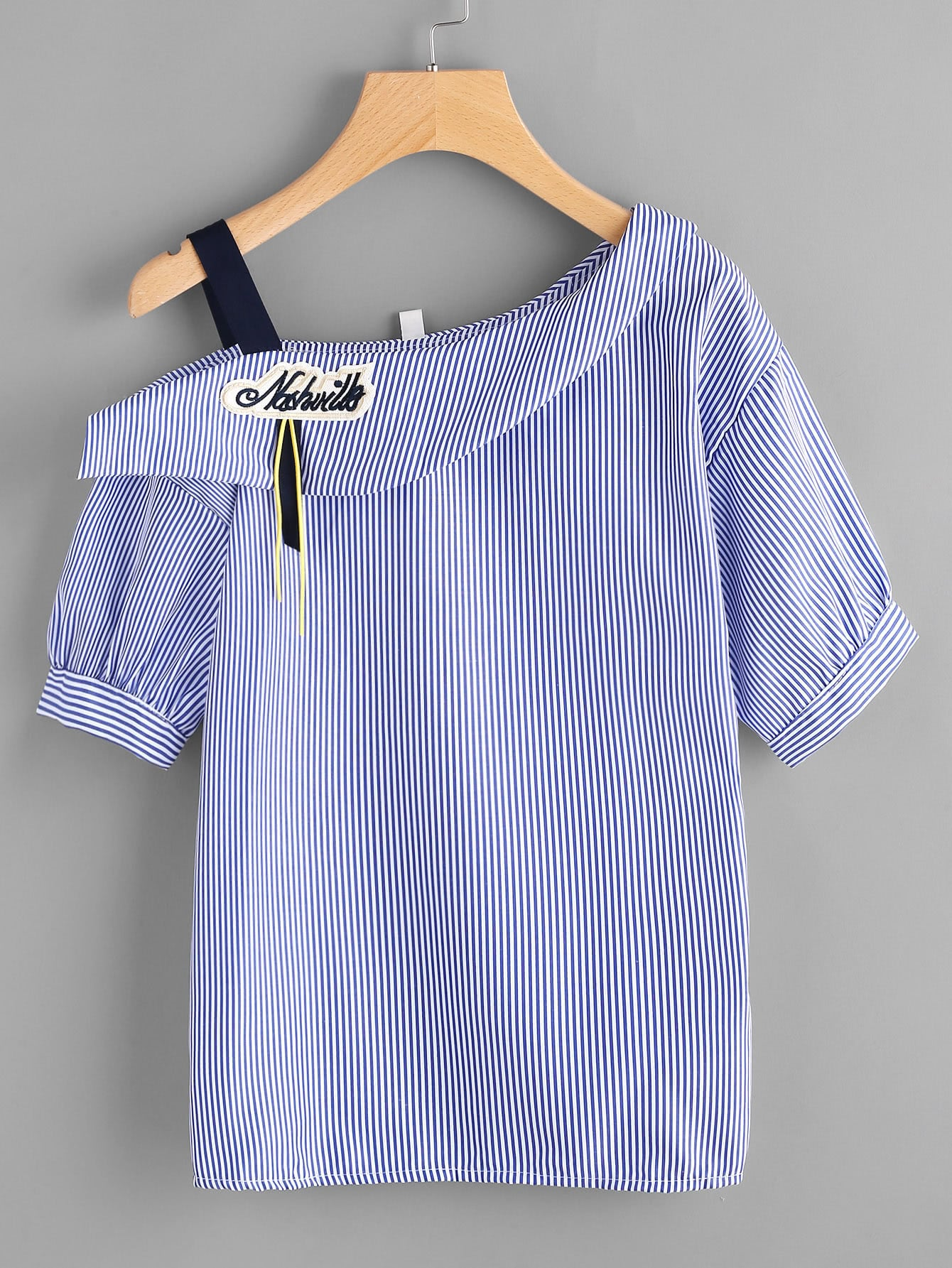Asymmetric Cold Shoulder Striped Top With Embroidered Patch cold shoulder striped t shirt with pockets