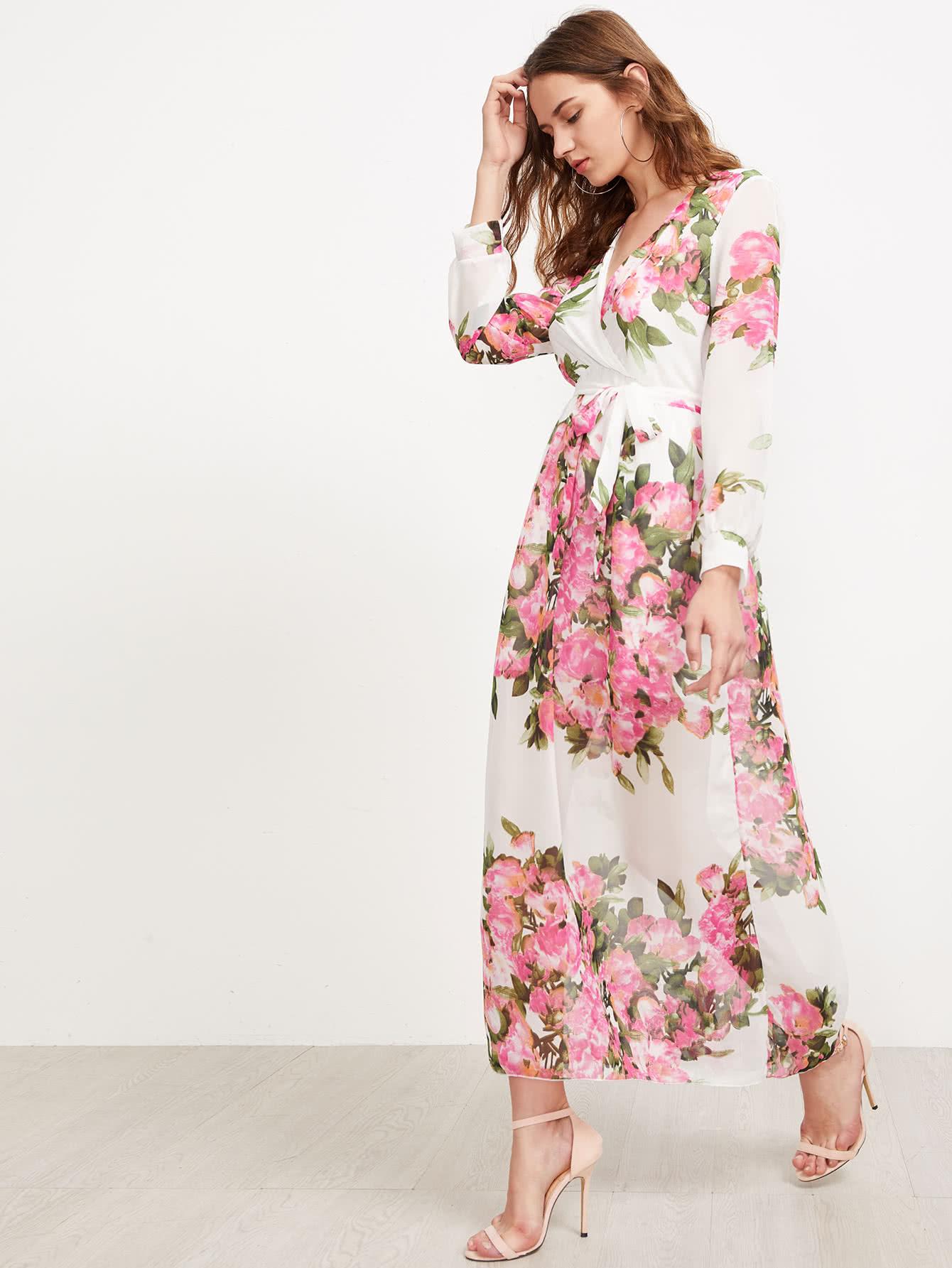 Фото Surplice Neckline Florals Self Tie Chiffon Dress. Купить с доставкой