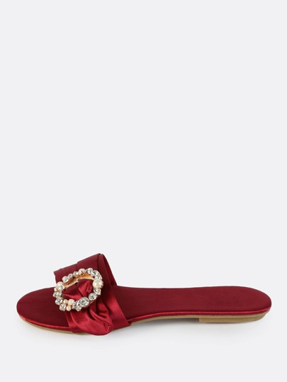 Slip On Satin Brooch Sandals WINE