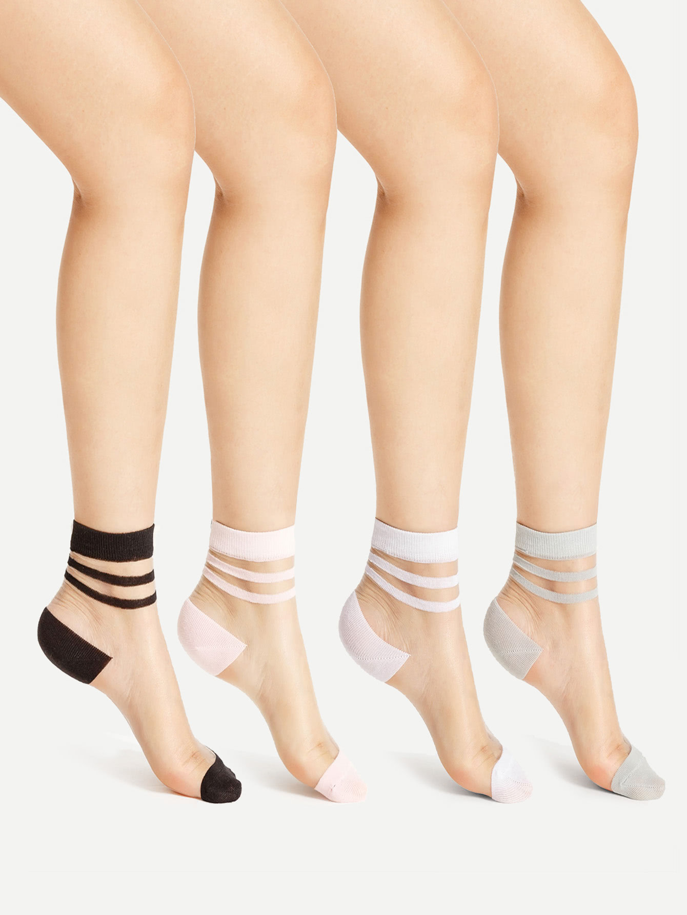 Фото Striped Cuff Sheer Ankle Socks 4pairs. Купить с доставкой