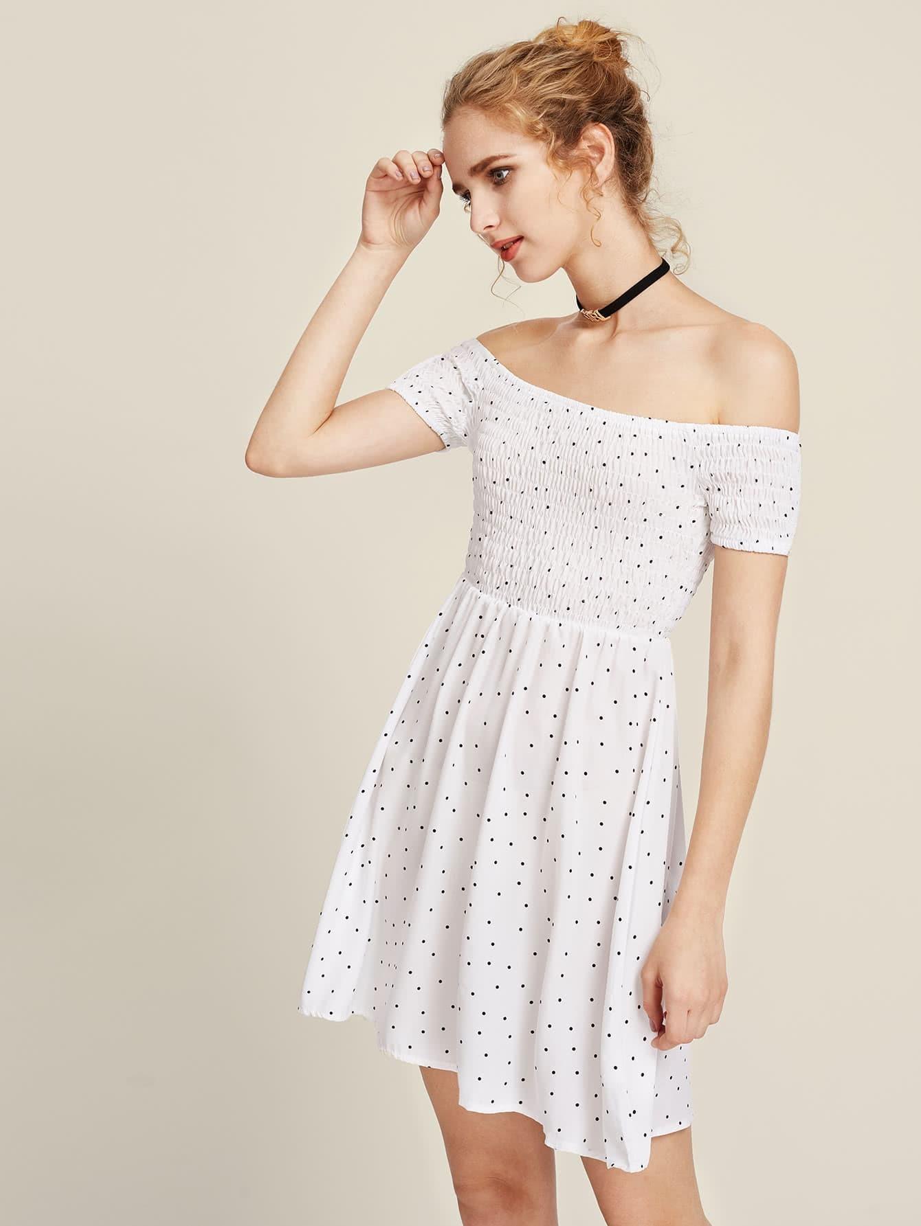 Фото Bardot Polka Dot Smock Dress. Купить с доставкой