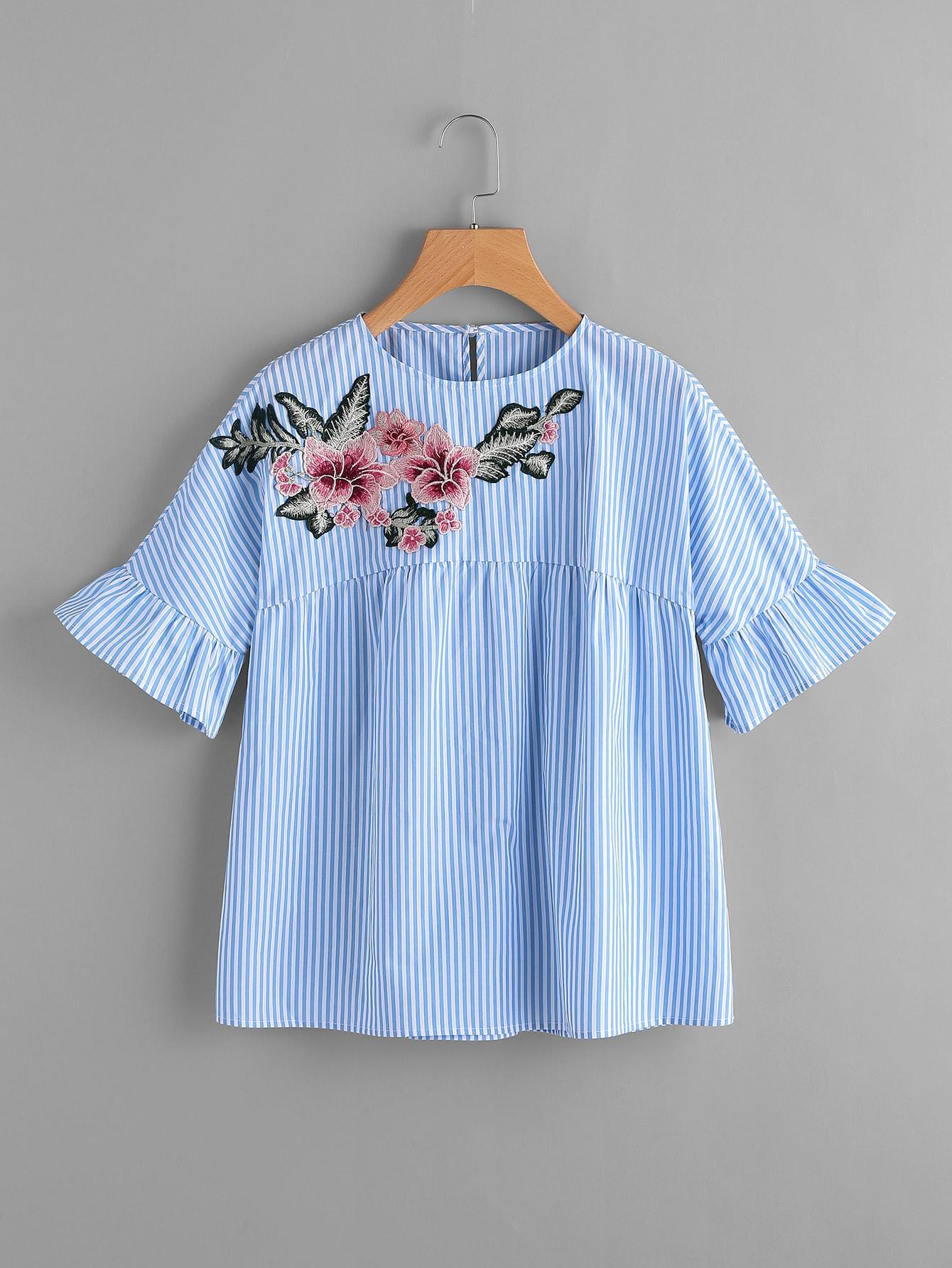 Фото Embroidered Flower Embellished Ruffle Sleeve Babydoll Top. Купить с доставкой