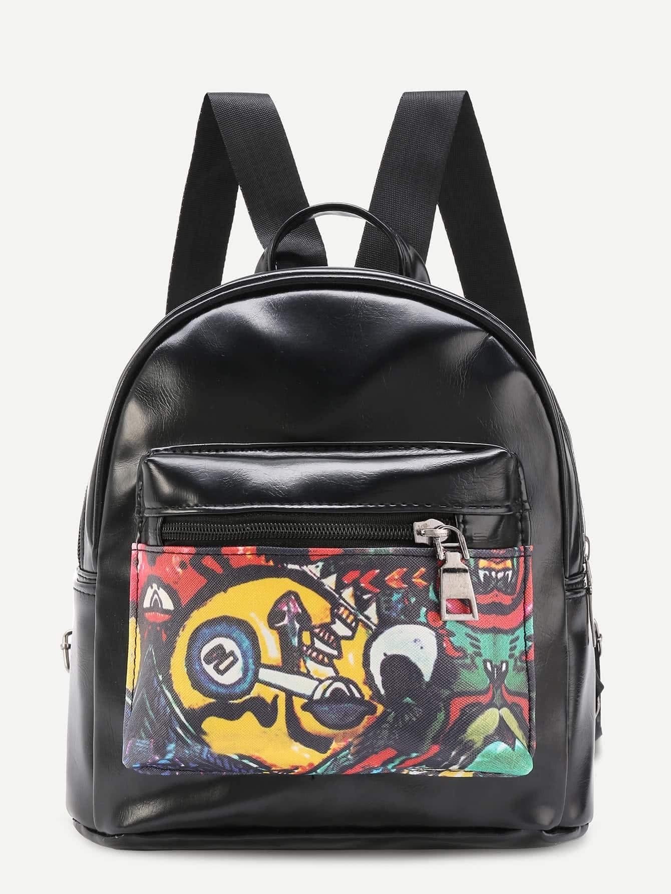 Фото Graffiti Print PU Backpack. Купить с доставкой