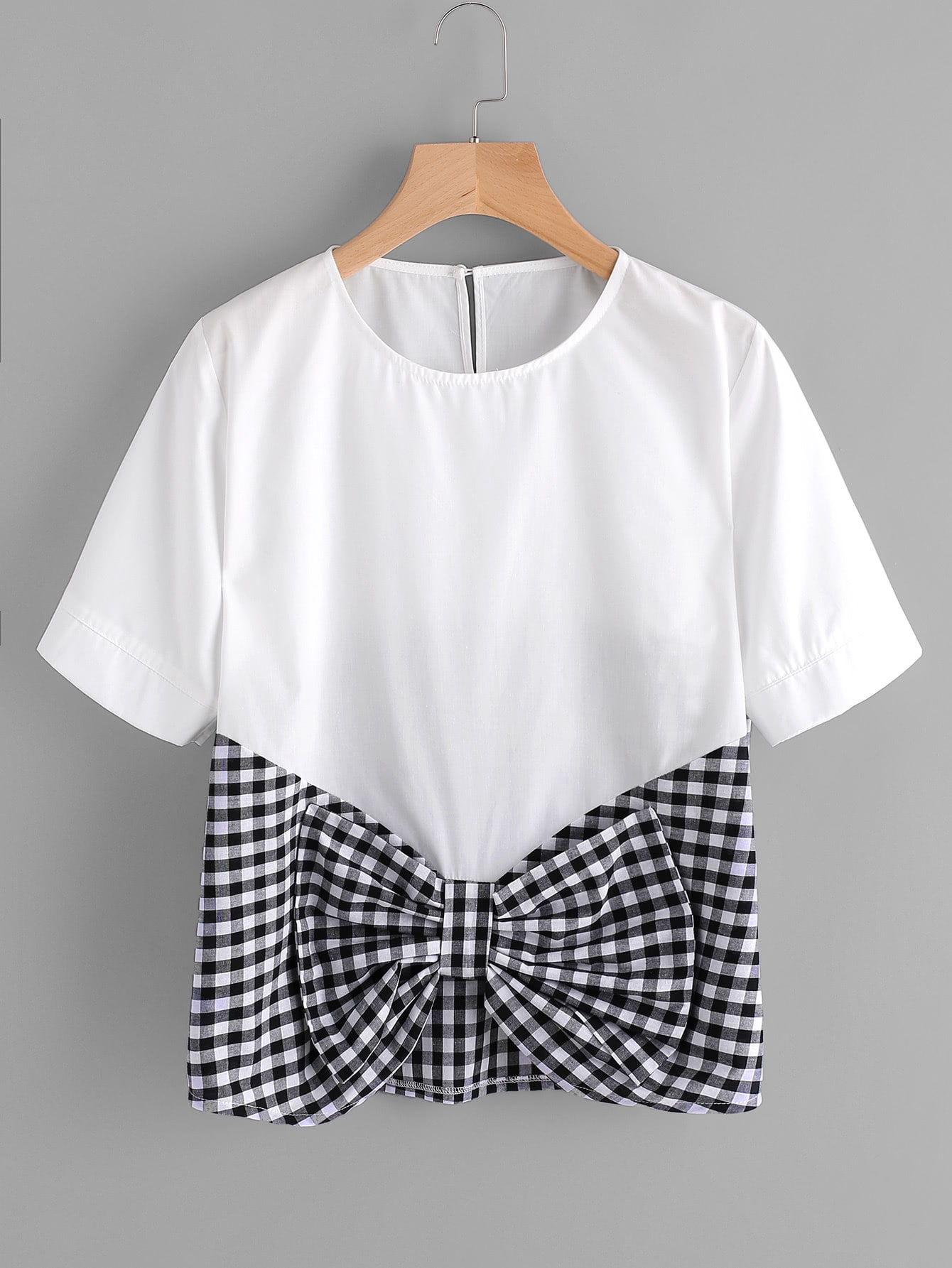 Contrast Gingham Bow Front Keyhole Top blouse170510005