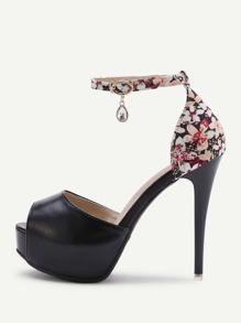 Zapatos de tacón alto de pu con plataforma con estampado