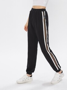 Fishnet Insert Striped Side Sweatpants