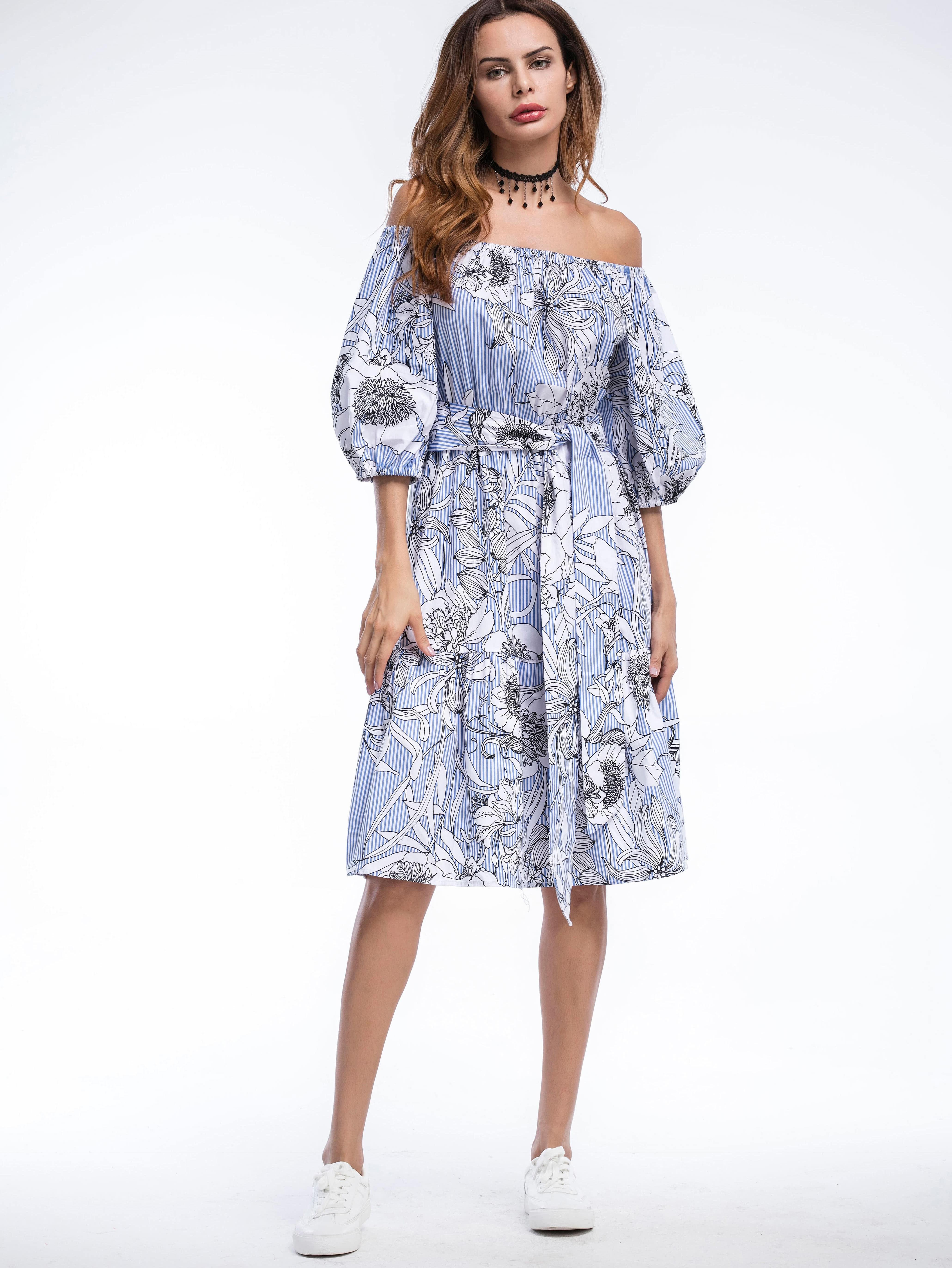 Фото Bardot Floral Print Puff Sleeve Self Tie Dress. Купить с доставкой