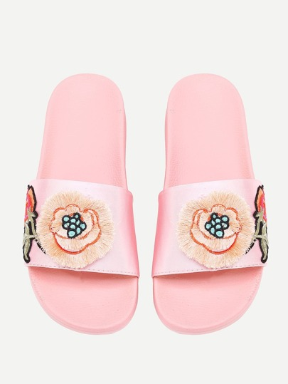 Embroidery Detail Flower Satin Slides