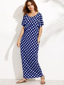 Hidden Pocket Detail Polka Dot Cocoon Dress