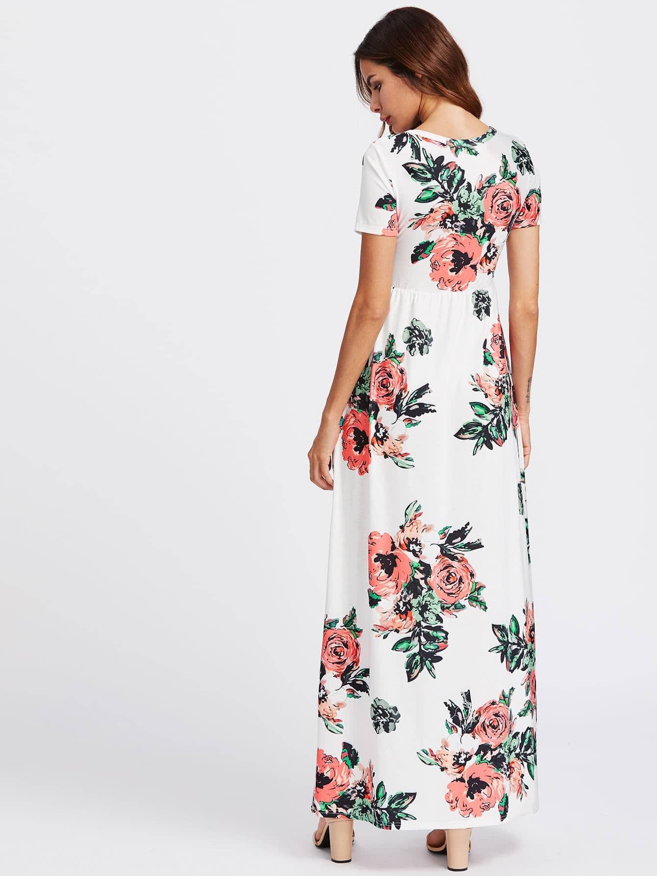 Flower Print Hidden Pocket Side Empire Waist Dress
