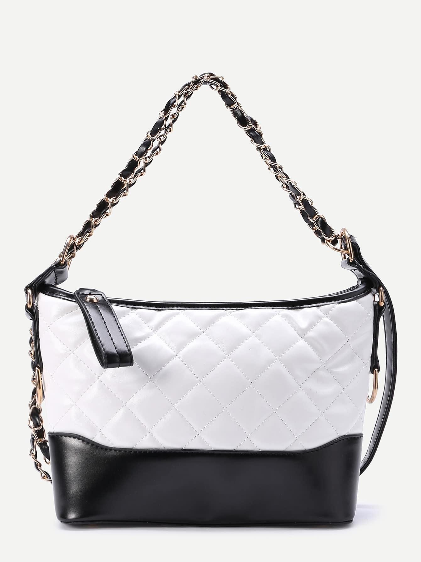 Фото Two Tone Quilted PU Shoulder Bag. Купить с доставкой