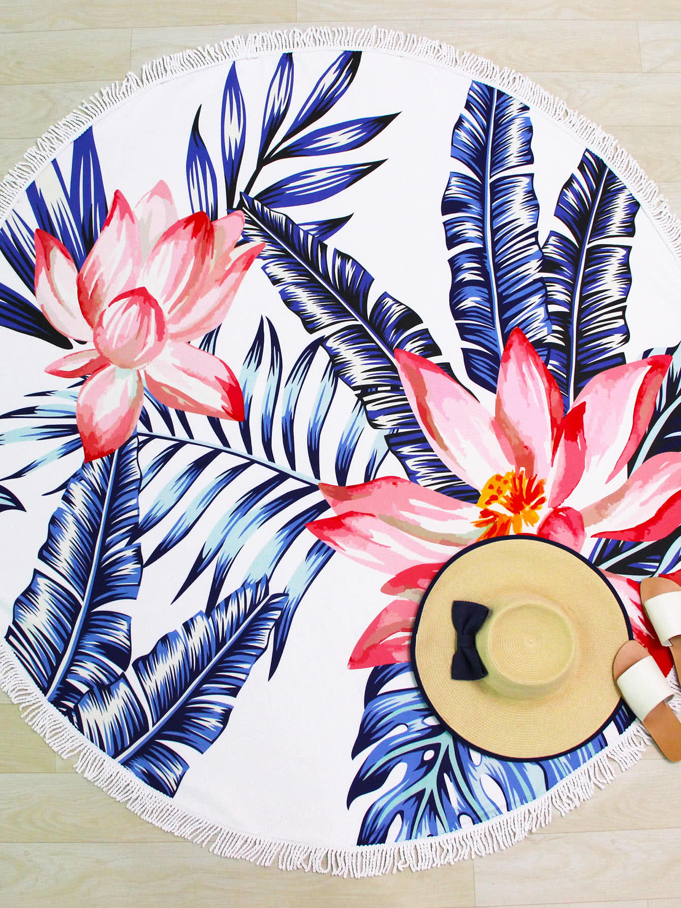 Jungle Print Fringe Trim Round Beach Blanket