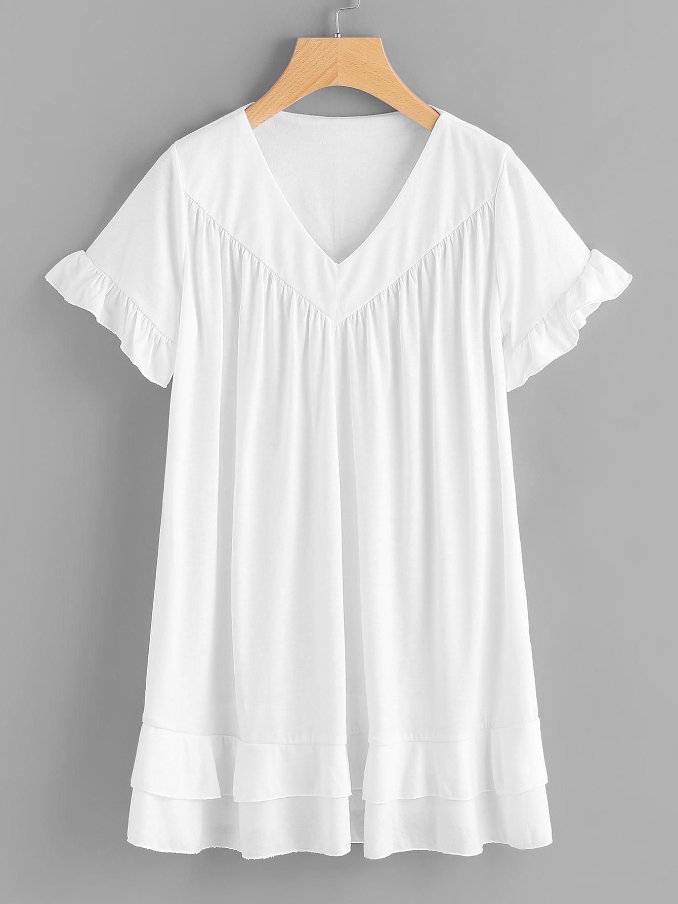 V-neckline Frill Trim Tee Dress dress170509105