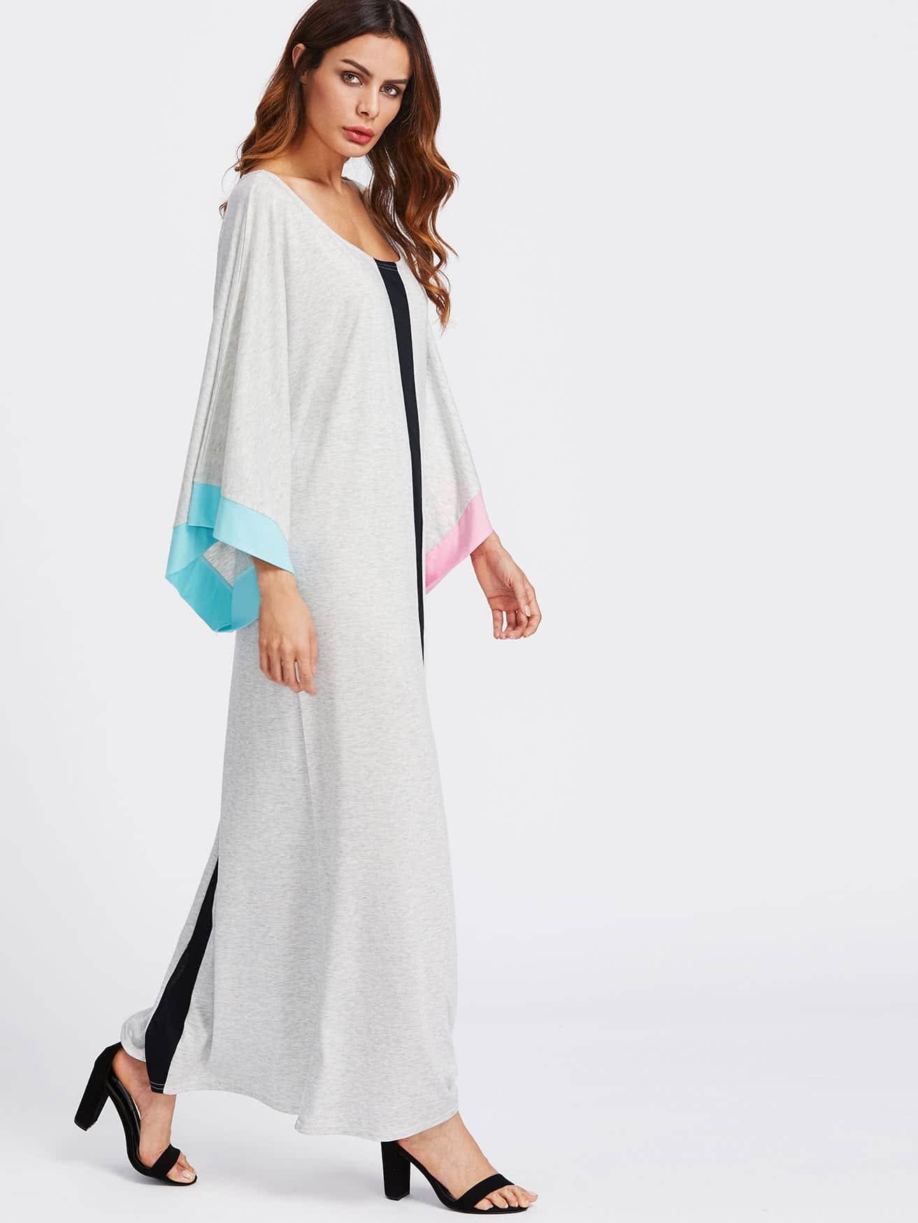 Contrast Panel Kimono Sleeve Full Length Dress