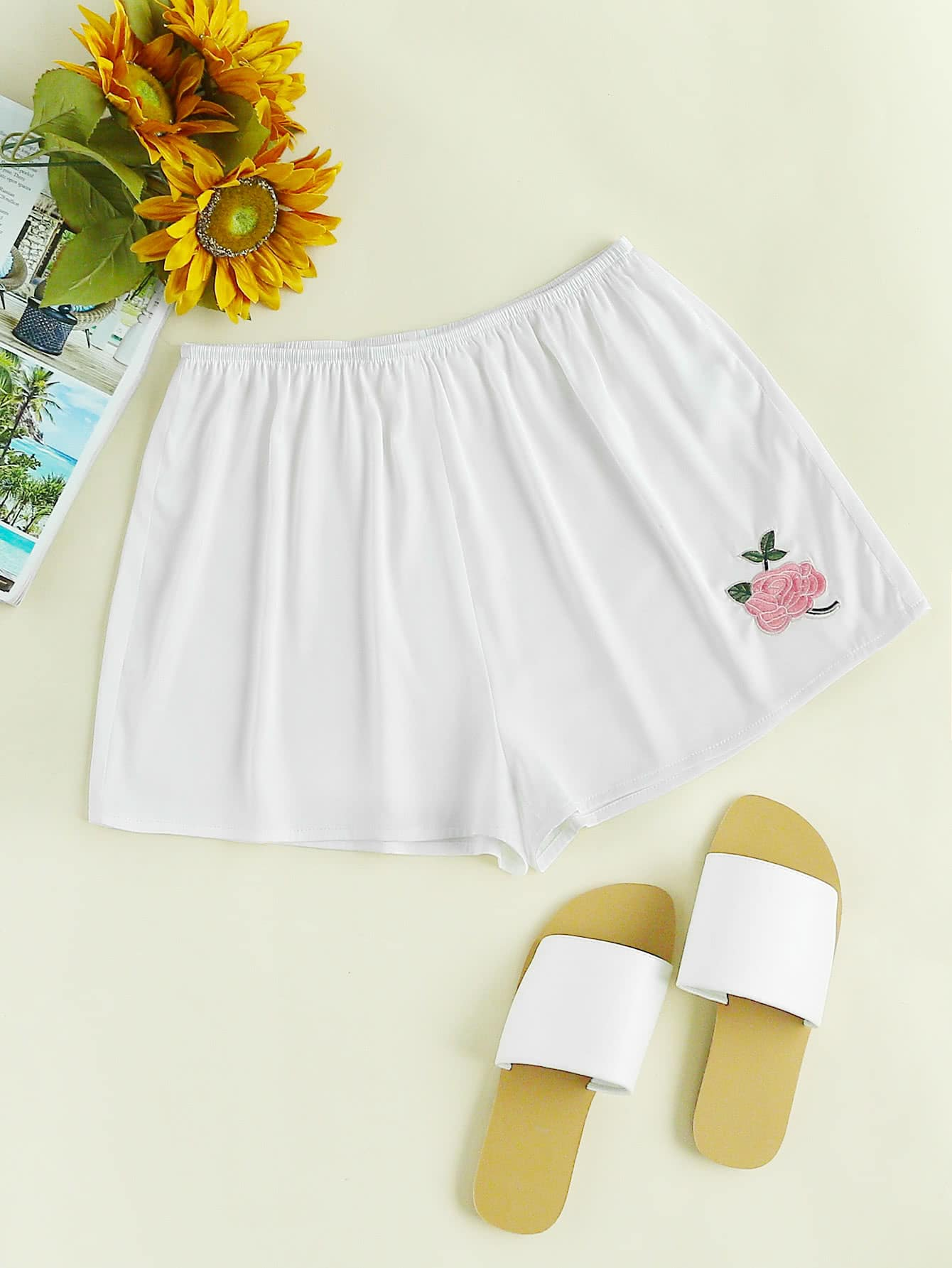 Rose Embroidered Legging Shorts Apparel and Accessories Products