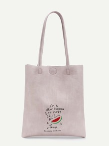 Watermelon And Letter Print PU Tote Bag