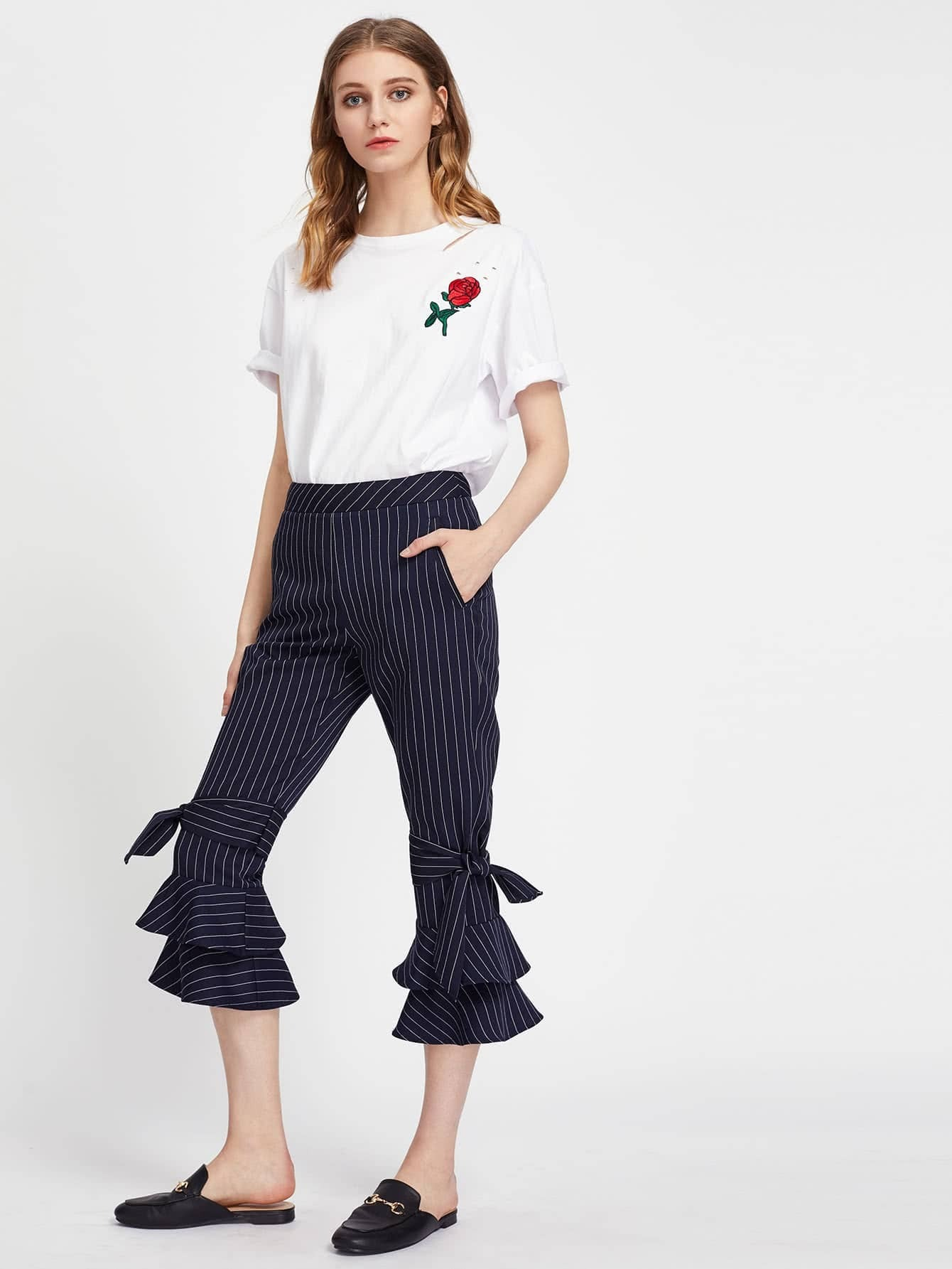 Belted Detail Pinstripe Layered Flare Pants