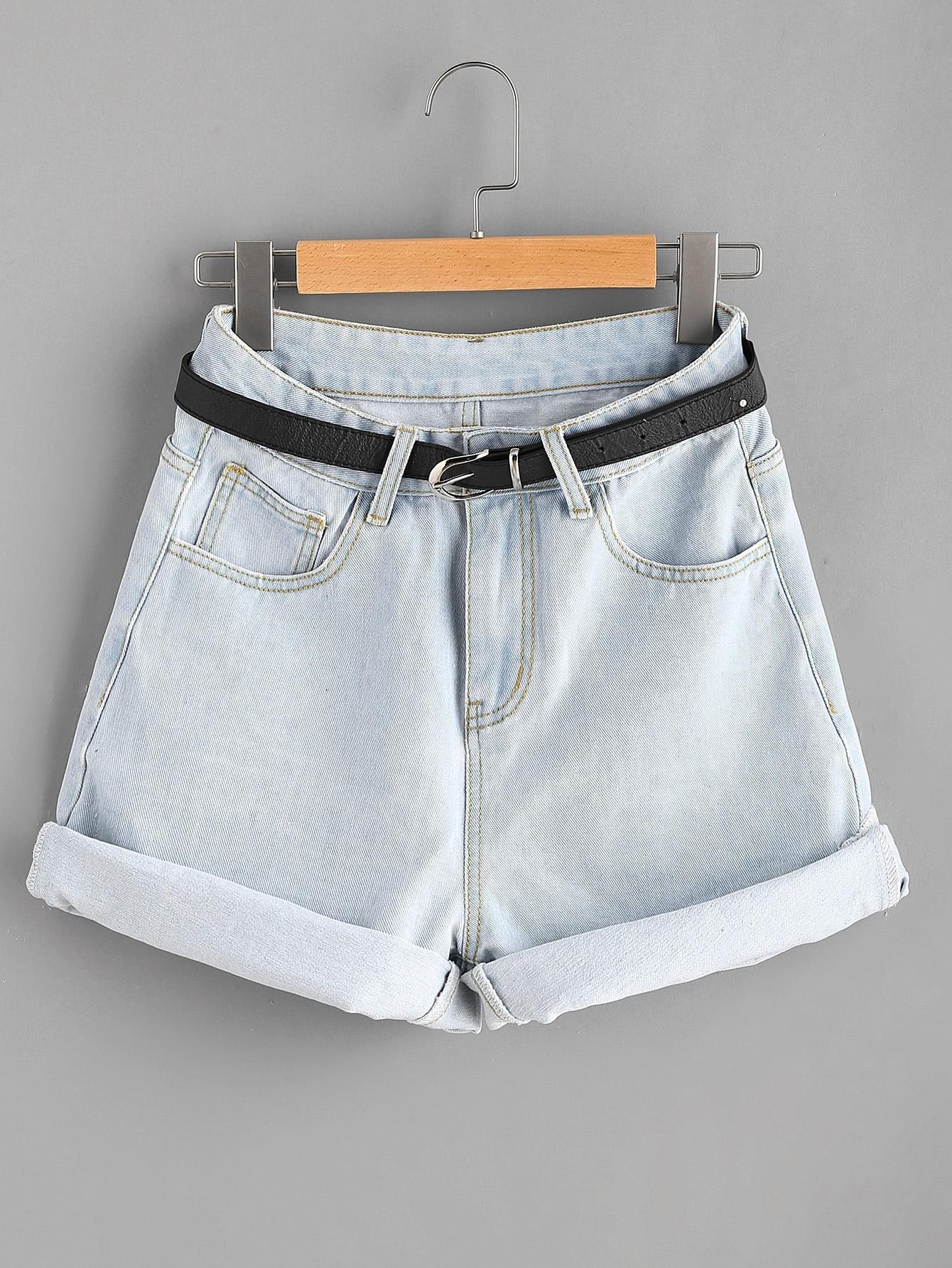 Фото Cuffed Denim Shorts With Belt. Купить с доставкой