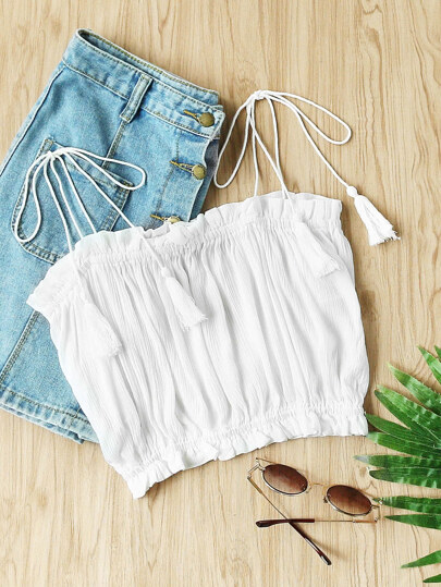 Tassel Tie Shoulder Frill Trim Crop Top
