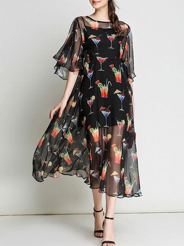 Фото Bell Sleeve Sheer Cocktail Print Dress. Купить с доставкой
