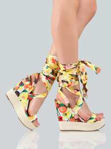 Floral Print Lace Up Wedges YELLOW