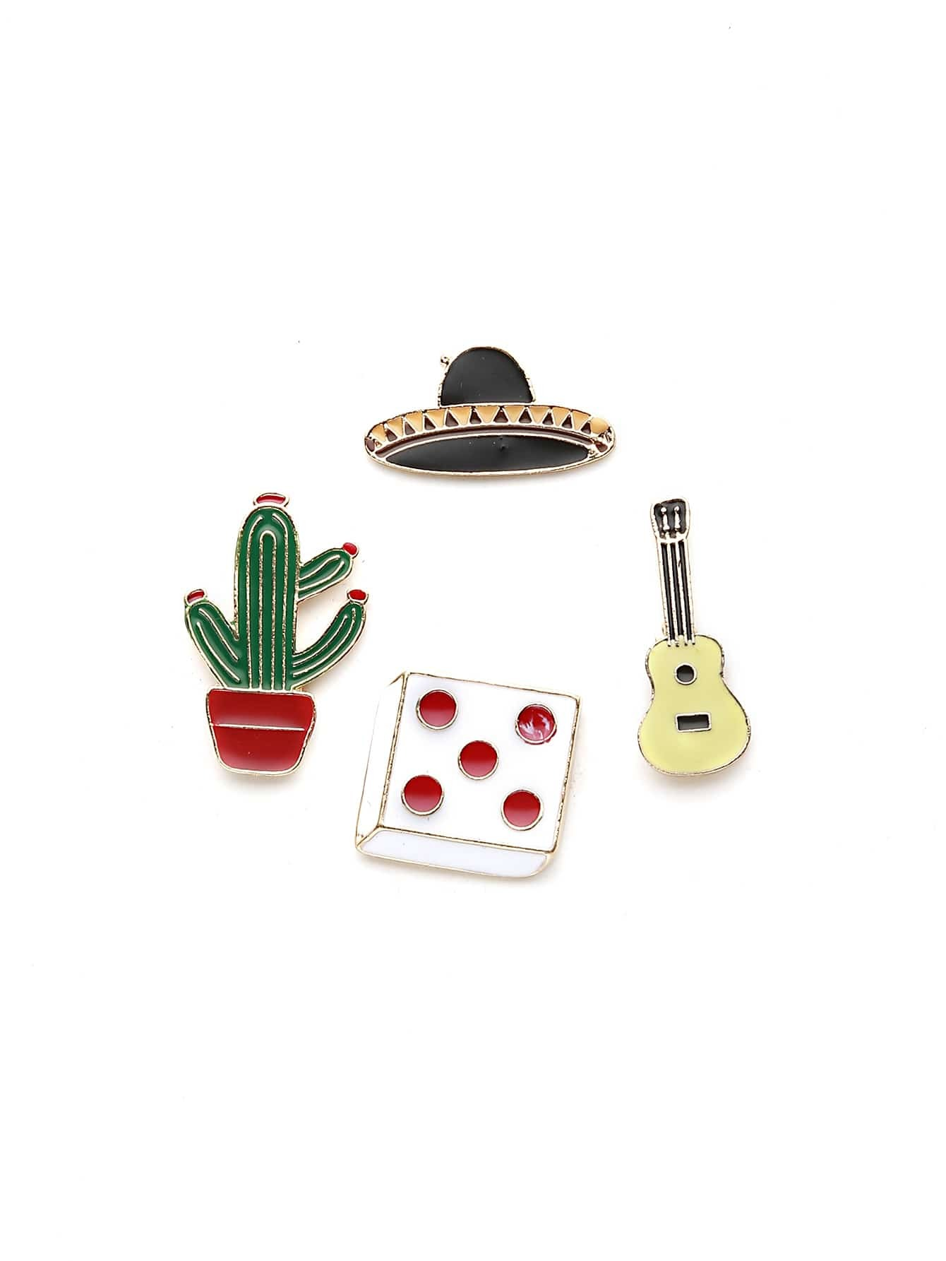 Image of Cactus And Guitar Cute Brooch Set
