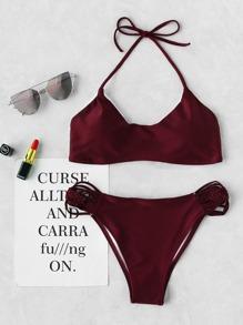 Woven Strap Halter Bikini Set