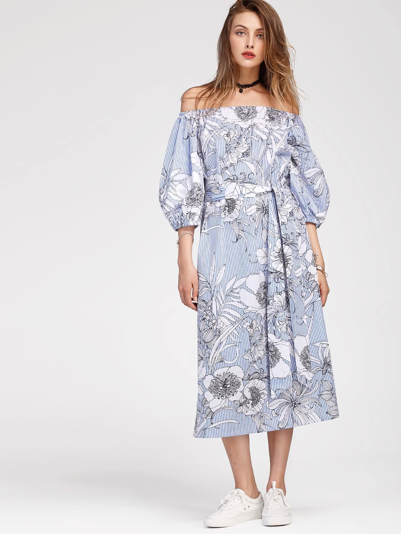 Bardot Lantern Sleeve Vertical Striped Florals Dress