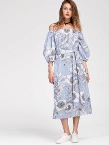 Модное платье в полоску с цветочным принтом и открытыми плечами, рукав-фонарик