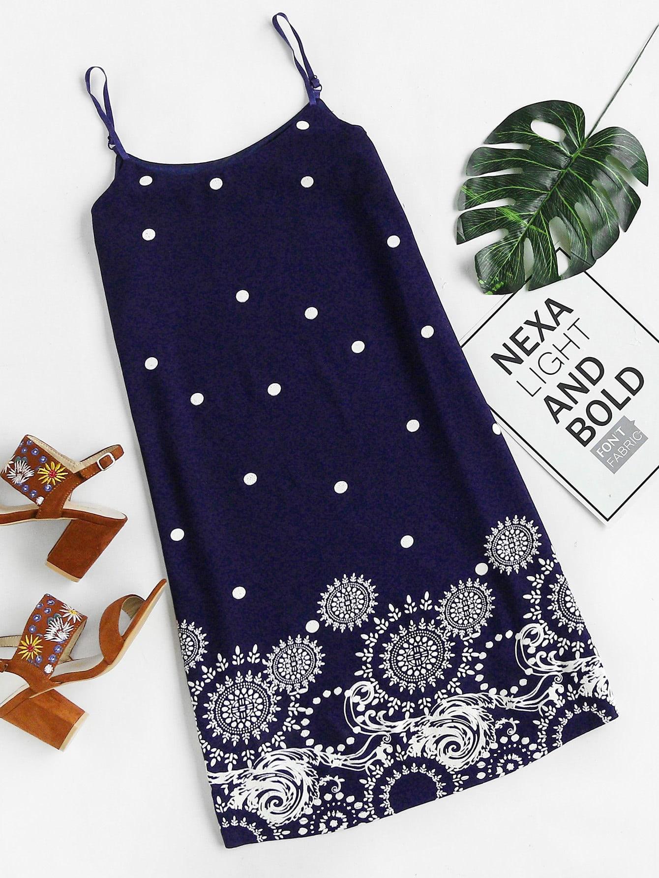 Фото Polka Dot And Circle Print Slip Dress. Купить с доставкой