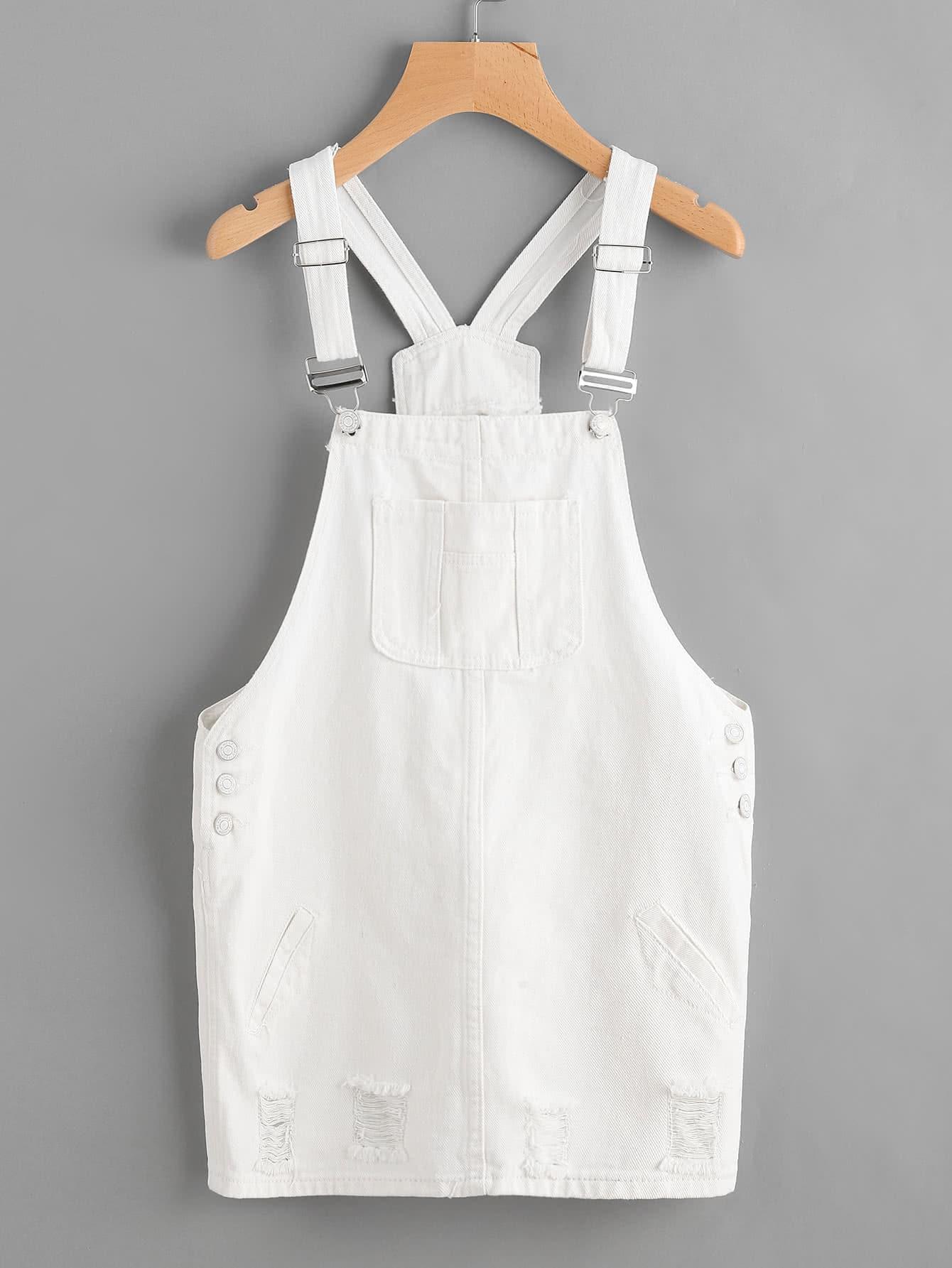 Badge Denim Overall Dress With Pockets dress170524003