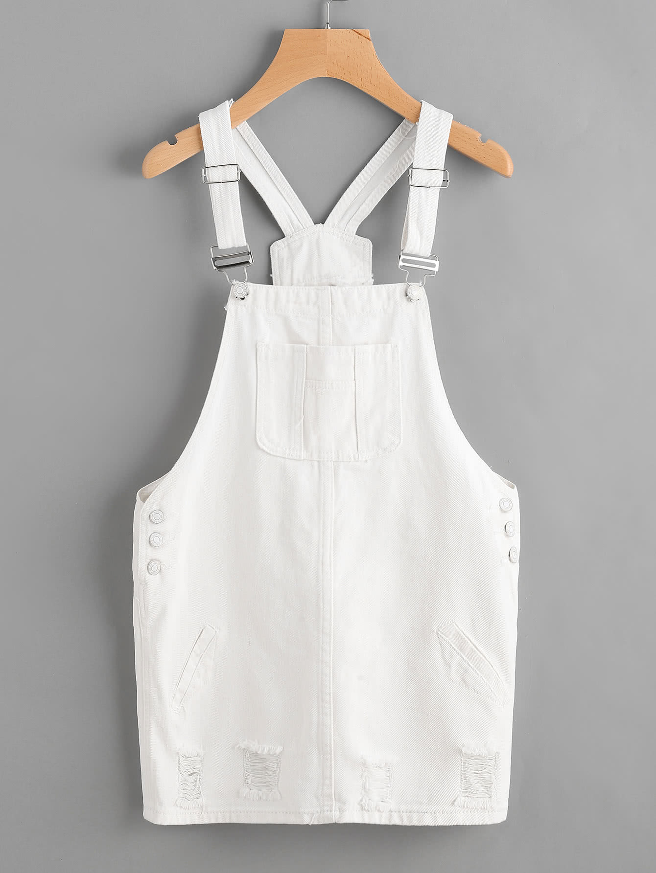 Image of Badge Denim Overall Dress With Pockets
