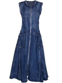 Fringe Zipper Denim Dress