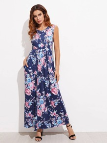 Allover Florals Full Length Dress