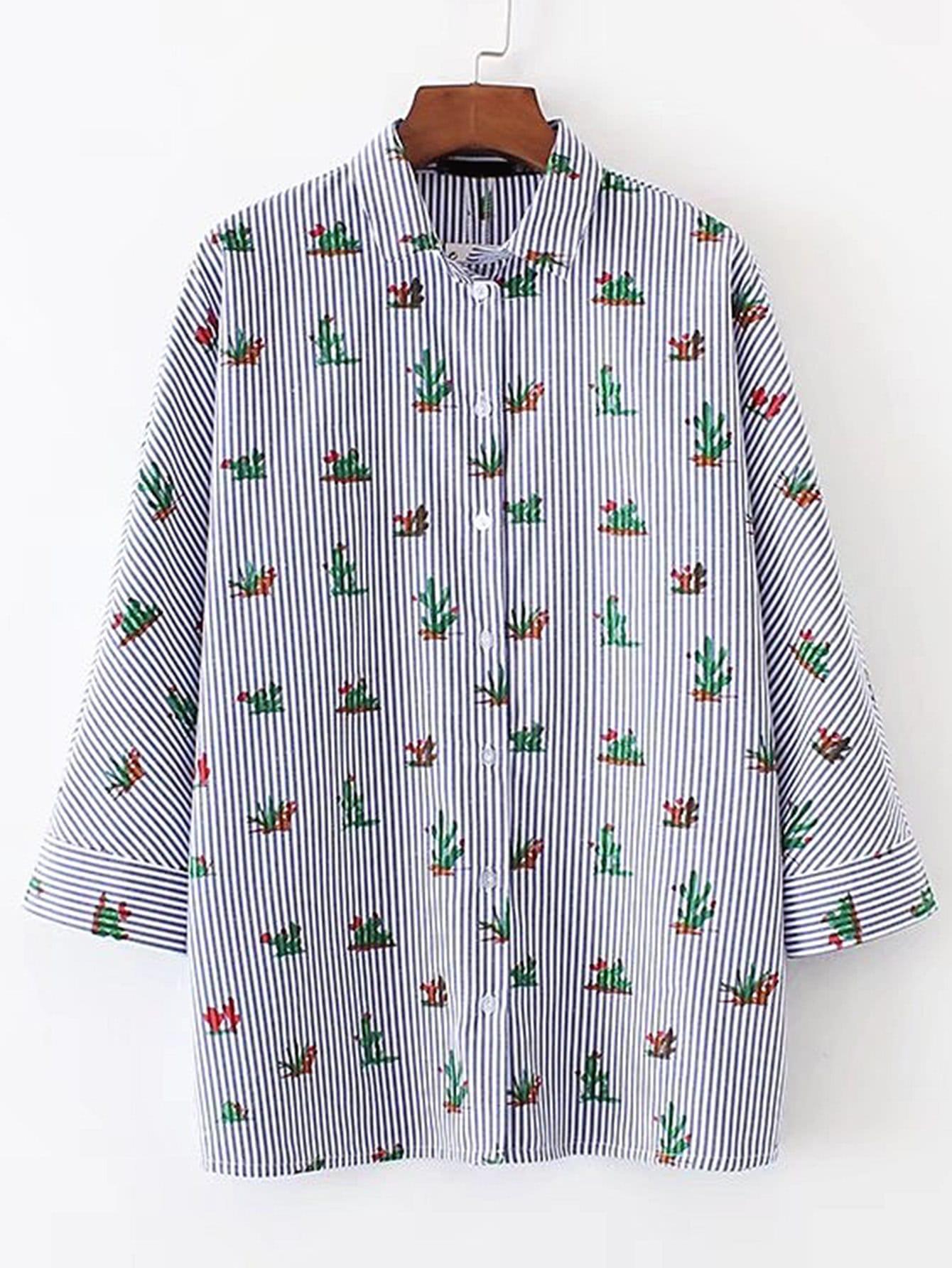 Фото Vertical Striped Cactus Print Blouse. Купить с доставкой