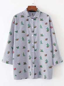 Vertical Striped Cactus Print Blouse