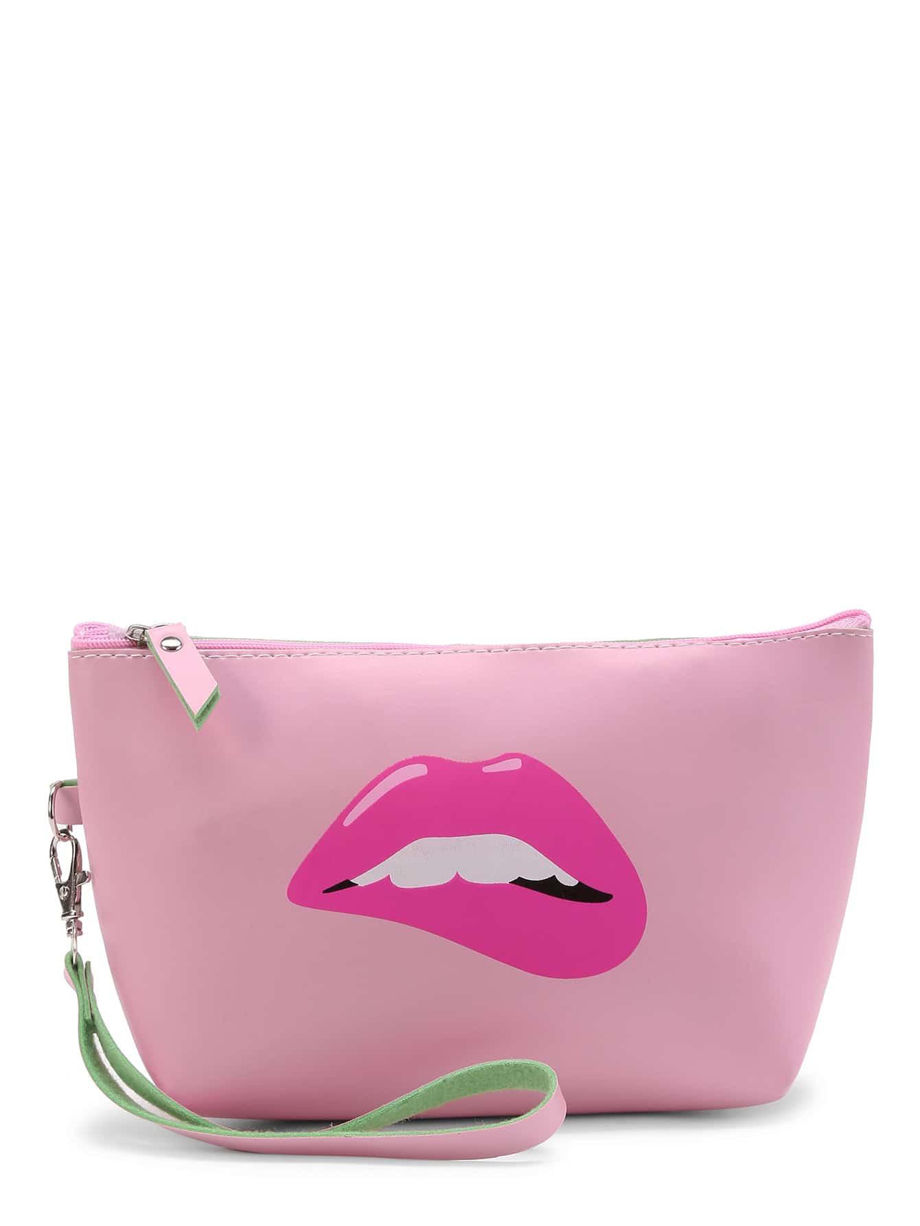 Фото Lip Print Makeup Bag With Wristle. Купить с доставкой