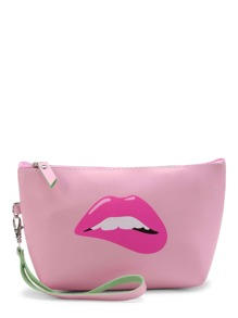 Lip Print Makeup Bag With Wristle