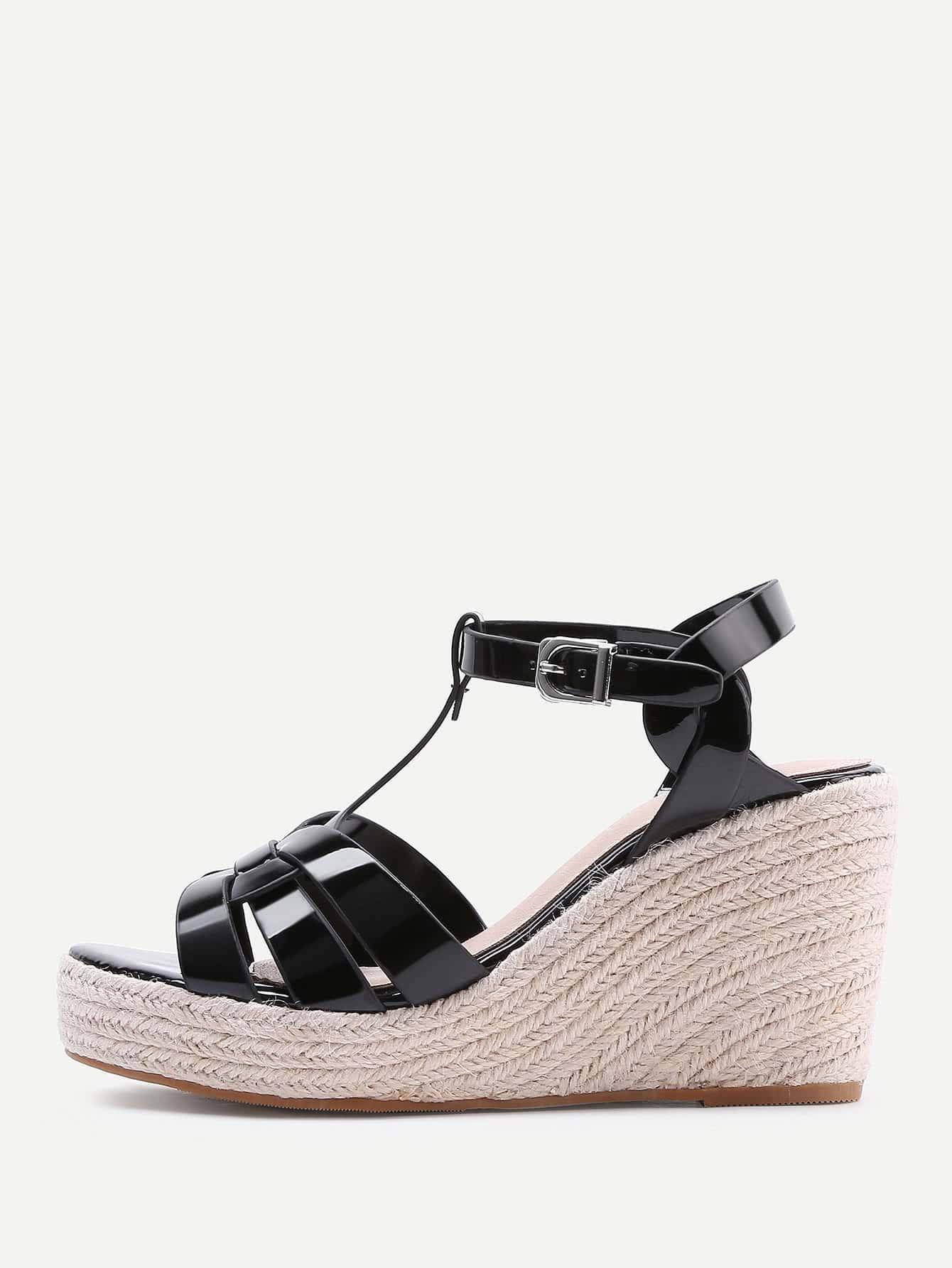 Фото PU Platform Woven Wedge Sandals. Купить с доставкой