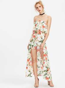 Tropical Trapeze Tube Top And Maxi Shorts Co-Ord