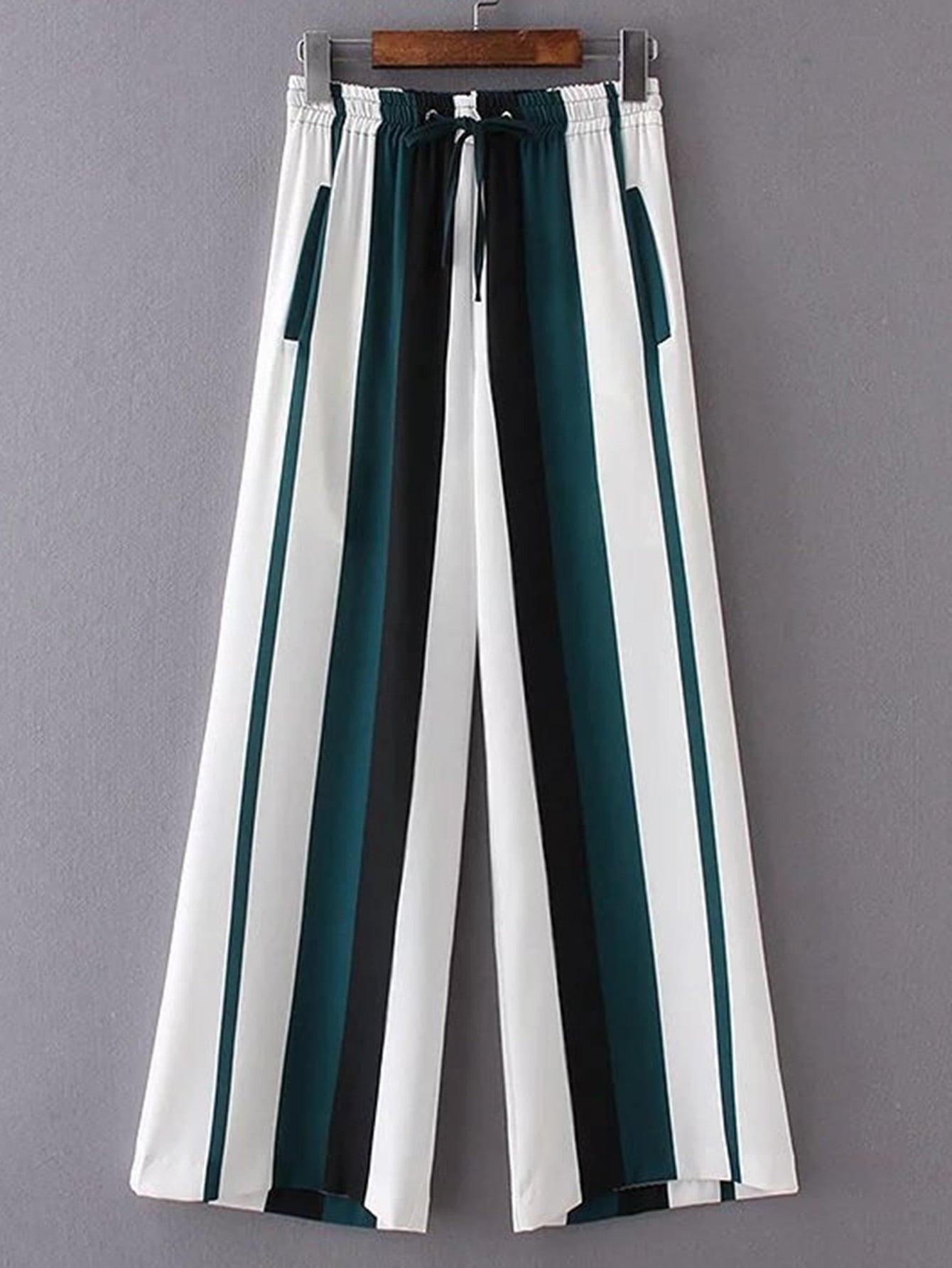 Фото Smocked Drawstring Waist Striped Wide Leg Pants. Купить с доставкой