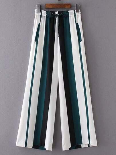 Smocked Drawstring Waist Striped Wide Leg Pants