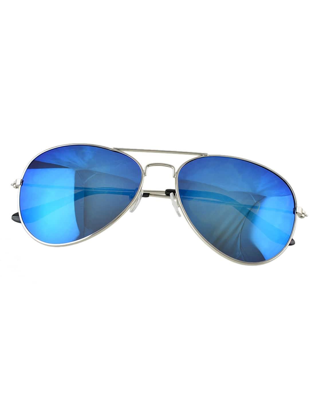 Blue Lenses Silver Thin Rim Sunglasses