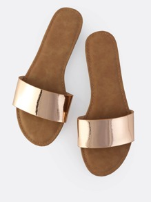 Classic Metallic Slip On Sandals ROSE GOLD