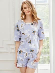 Birds Print Tee With Shorts Pajama Set
